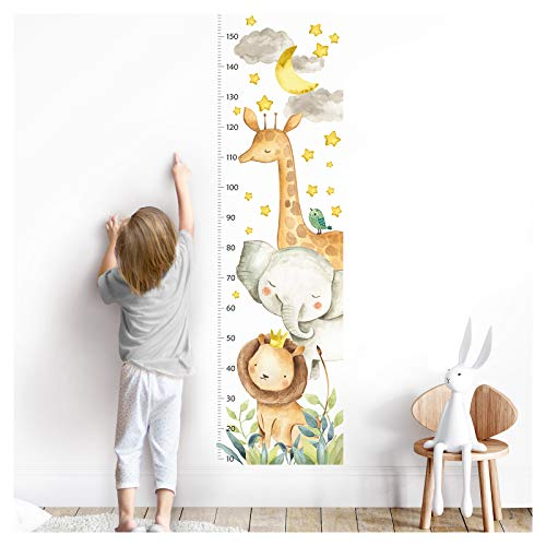 Little Deco Wandaufkleber Kinderzimmer Junge Mädchen Messlatte | 150cm Löwe Elefant Giraffe | Tiere Wandtattoo Kinder Wandsticker Aufkleber Dekoration DL356