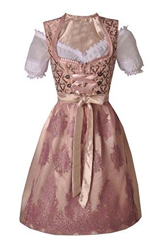 Midi-Dirndl 60 cm Wattendorf rosa Trachtenset 3-tlg. Dirndl inkl. Schürze und Bluse BAYER MADL, Rosa/Pink, Gr. 40