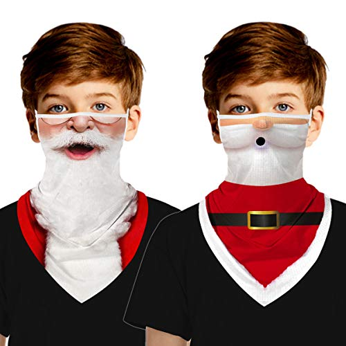 MengPa Kids Neck Gaiters Face Cover Scarf Ear Loops Balaclava Santa Claus 2Pcs (US2500-M-159-163)