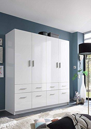 lifestyle4living Kleiderschrank, Weiß, Hochglanz, 180 cm | Drehtürenschrank 4 türig mit 8 Schubladen, 1 Kleiderstange, 2 Böden, im modernen Stil