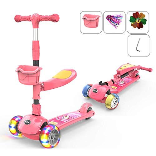 SZNWJ Ygqtbc 2 en 1 Niños Kick Scooter, 3 Ruedas Walker con Asiento Desmontable y Respaldo, luz del LED hasta Ruedas for niños 2-10 años (Color : Pink)