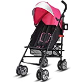 BABY JOY Lightweight Stroller, Aluminum Baby Umbrella Convenience Stroller, Travel Foldable Design with Oxford Canopy/ 5-Point Harness/Cup Holder/Storage Basket, Pink