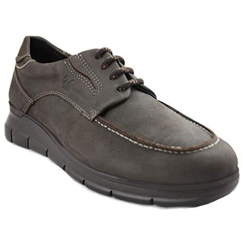 24 Horas 10730 - Zapatos de Hombre Marrones de Piel con Cordones y Especialmente Cómodas - 44, Marró Fosc