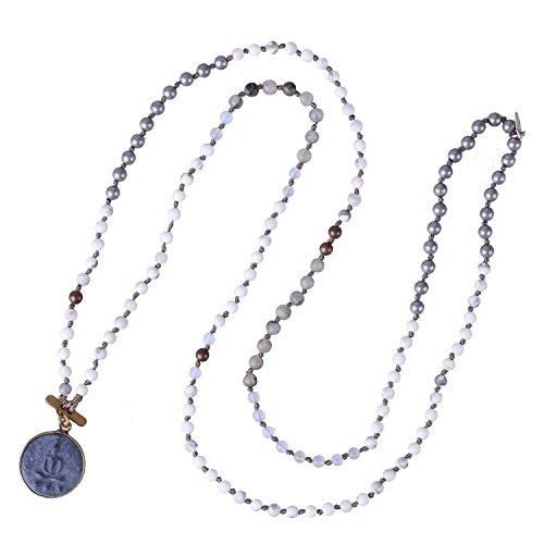 KELITCH Buddha Strand Necklace Long Beaded Sakyamuni Medal Pendant Necklace for Lucky