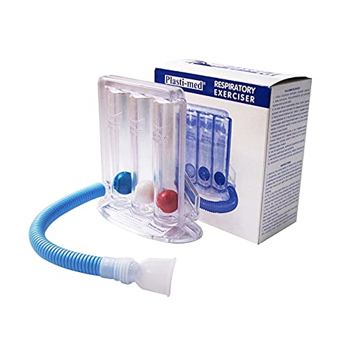 Mobiclinic, Ejercitador respiratorio, Ejercitador pulmonar, Espirómetro, Equipo de terapia y educación respiratoria, Marcado CE, Fortalece y mejora la respiración, 3 cámaras, Transparente