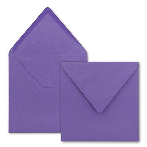 Quadratische Brief-Umschläge ohne Fenster in Violett - 100 Stück - 15,5 x 15,5 cm - Nassklebung - Für Hochzeits-Karten, Einladungskarten und mehr - Serie FarbenFroh®