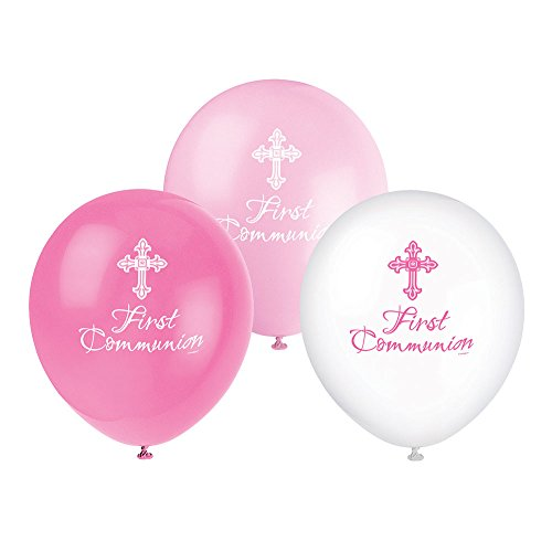 Unique Party 43791 - 30 cm Latex Radiant Cross Pink First Communion Balloons, Paquete de 8