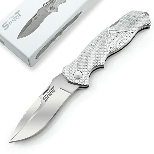 Outdoor Spirit® Zweihand Klappmesser 2 in 1 - Taschenmesser mit scharfer Edelstahlklinge 440C - Zweihandmesser mit Aluminiumgriff - Outdoor-Messer für Camping & Wandern (Silber)