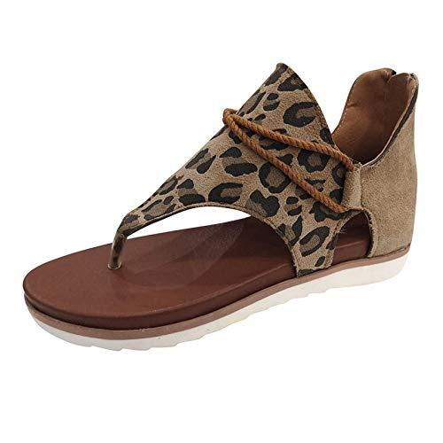 XOXSION Sandalias de verano para mujer, planas, con estampado de leopardo, cómodas sandalias abiertas, con cubierta antideslizante, para la playa, color Marrón, talla 38 EU