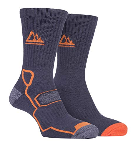 Storm Bloc - 2 Pack Mens Super Soft Breathable Bamboo Trekking Hiking Socks for Boots (6-11, Charcoal Amber)