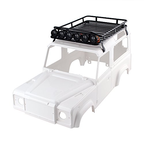 INJORA RC Dachträger Dachgepäckträger mit 6 LEDs Dachleuchte für 1: 10 RC Crawler D90 Land Rover Axial SCX10 Jeep SCX10 II 90046