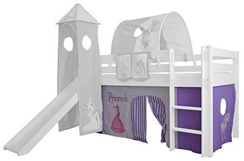 XXL Discount Vorhang 3-teilig 100% Baumwolle Stoffvorhang Bettvorhang inkl Klettband für Hochbett Spielbett Etagenbett Stockbett Kinderbett (Lila/Weiß, Prinzessin)