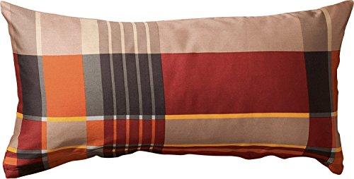 Erwin Müller Zusatz-Kissenbezug, Kissenhülle Flanell Karo rot-braun Größe 80x40 cm -pflegeleicht, bügelleicht, 100% Baumwolle, mit Reißverschluss (weitere Größen)