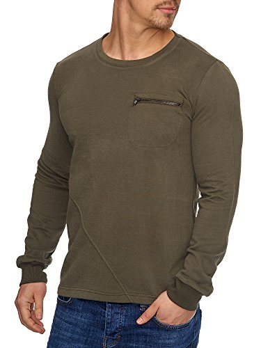 Tazzio Herren Rundhals Sweatshirt Pullover Hoodie 17201 Khaki M