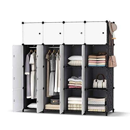 HOMIDEC Portable Closet Wardrobe with Clothes Hanging Rod, Closet Organizers and Storage Shelves...