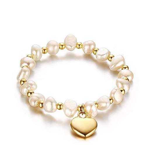 NOBRAND Pulsera de Cadena de Perlas Naturales para Mujer Cadena elástica Encanto de corazón Dorado Pulsera de Acero Inoxidable Joyería