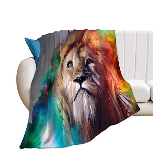 Throw Blanket for Bed Flannel Blankets Awesome Boho Lion Big Cat Wild Animal Lightweight Ultra Soft for All Season Farmhouse Decorative Blanket for Couch Sofa Travel Birthday Gift 70x80 Inch