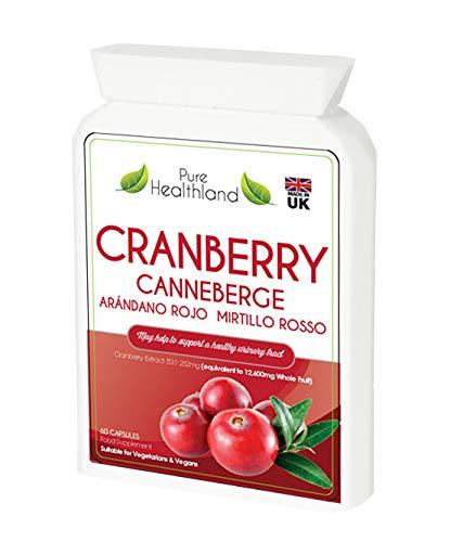 Sans Gluten Pilules de Complément Concentré de Canneberge (Cranberry). Equivalent à 12600 mg de Canneberge Frais Pour Hommes et Femmes. Fini les Jus de Canneberge! Sans Sucre