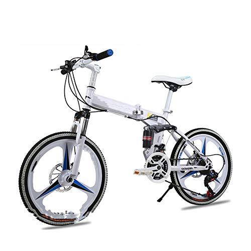 LCLLXB Bicicleta de Estilo Libre Bicicleta de Montaña Bicicleta Plegable Acero al Carbono para Hombres y Mujeres 21/24/27 Speed Cross Country Bicycle