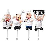 XZANTE Paquete de 4 Ganchos de Pared de Estatuilla de Chef Francés de Resina...
