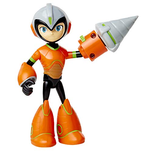 Mega Man: Fully Charged – Deluxe Drill Man Schematics Mega Man Articulated Action Figure with Spinning Drill and Break-Apart Boulder Accessory! Based on the new show!