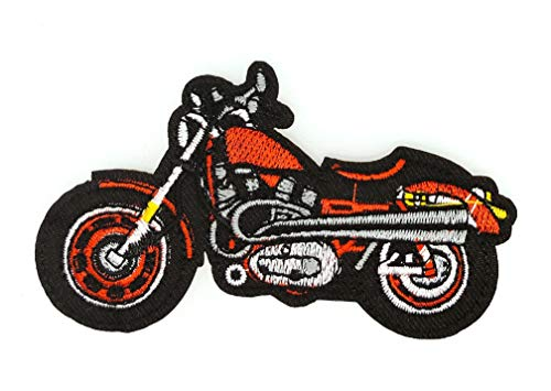 Gemelolandia Aufnäher zum Aufbügeln, Motiv: Harley Davidson, Rot, 9,5 x 5 cm, sehr haftend, zum Verzieren Ihrer Kleidung