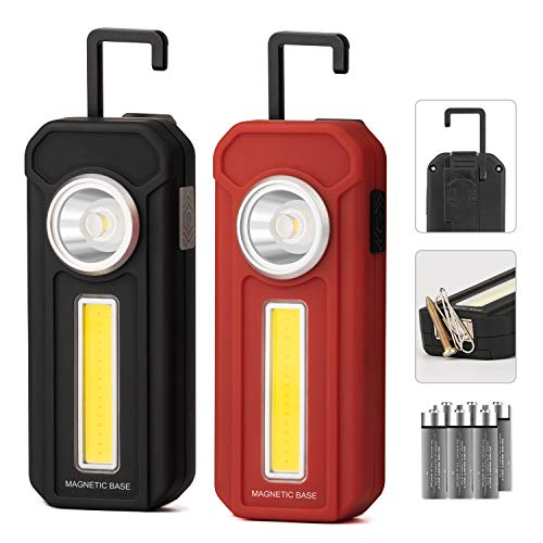 Magnetic Light, 2 Pack Portable LED Work Light with 4 Light Modes, Magnetic Base & Clip Battery Operated COB Flashlight, Hold to Dim Flood Light for Car Repairing, Camping, Fishing (with Batteries)