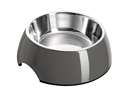 HUNTER Melamin-Napf, Futternapf, Trinknapf für Hunde und Katzen, herausnehmbarer Edelstahlnapf, 350 ml, grau