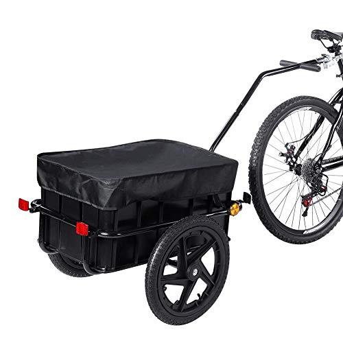 EBTOOLS Remorque de Vélo Chariot de Transport de Vélo Remorque de Transport pour Vélo avec Barre d'attelage Bâche et Poignée Capacité 90 litres Charge Max. 70 kg Noir