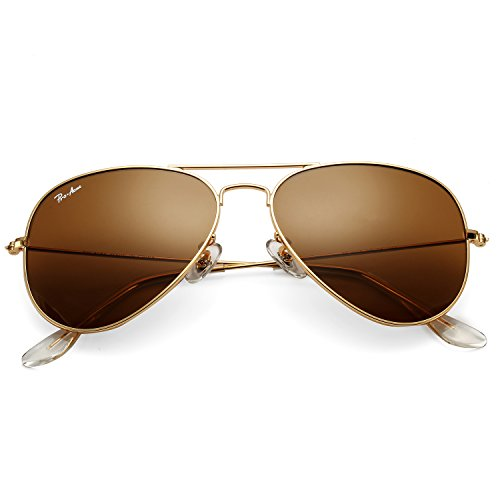 Pro Acme Classic Aviator Sunglasses for Men Women 100% Real Glass Lens (Gold/Brown)