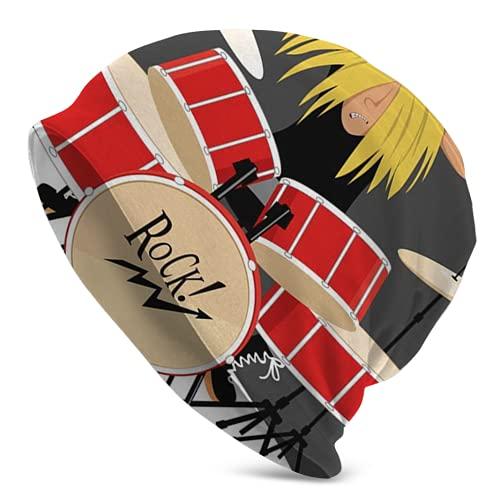 Jimbseo Rock Drum Beanie Skull Knit Cuff Beanie Gorra para hombre y mujer