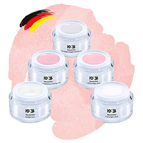 Baby Boomer Premium Gel Set French Make Up Aufbau Ombre Rosa Nude Weiss - Made in Germany (5 x 5ml)