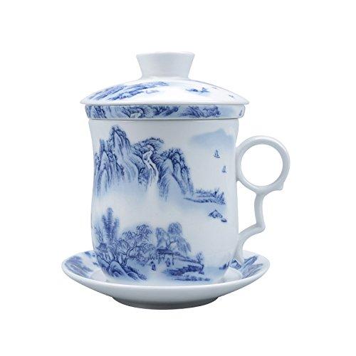ufengke Jing Dezhen Tazza Da Tè Porcellana Blu E Bianca, Cinese Di Pittura Di Paesaggio, Tazza Da Tè Cinese Con Filtro,1 Set Di 4 Pezzi, Per Regalo, La Famiglia E Ufficio -Blu 300Ml