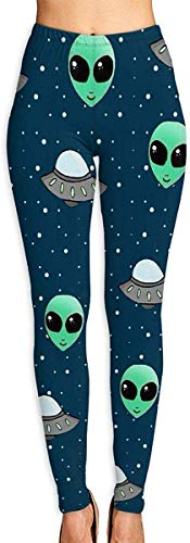 LVOE TTL Frauen Yoga Hosen Alien und UFO Fitness Power Flex Yoga Hosen Leggings
