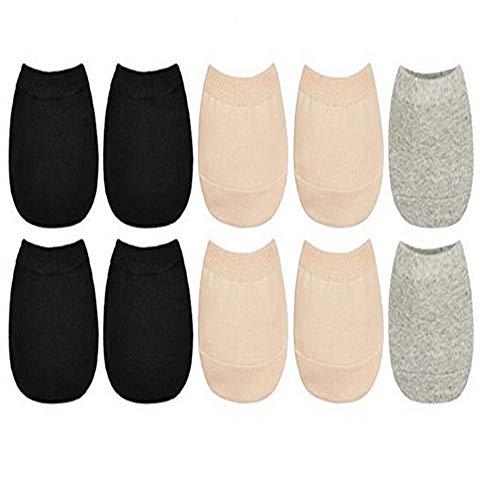 5 Pack cotton Toe Topper Liner Socks - Grey,black ,Skin Color, Medium cotton