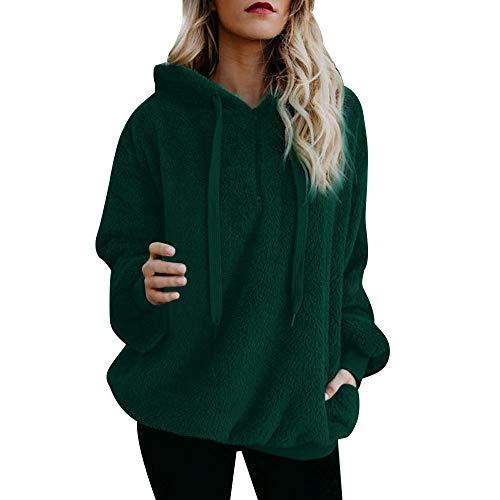 Aiserkly - Sudadera con capucha para mujer, con bolsillos de lana cálida, con cremallera, para invierno, para exteriores, primavera, blusa casual Verde verde XXXL