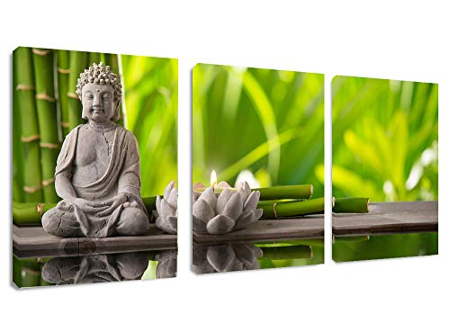 Canvas Wall Art Decor 12' x 16' x 3 Panels Buddha Statue Canvas Prints Keep Inner Peaceful Buddha Artwork Framed for Living Room Yoga Room