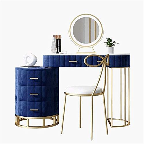 Frisierkommode Makeup Table Blau Schminktisch mit Spiegel Vanity Makeup Frisierkommode for Mädchen mit gepolstertem Stuhl und Make-up Organizer 5 Drawer Für Schlafzimmer Make-up Schmuckaufbewahrung Se