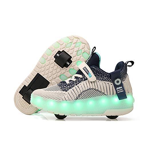 MNVOA Unisex Kinder Mode USB LED Schuhe mit Rollen Drucktaste Einstellbare Skateboardschuhe Outdoor Gymnastik Turnschuhe Für Junge Mädchen,Blau,39EU