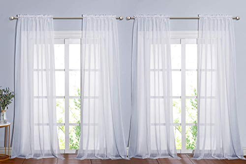 NICETOWN 4 Panels Sheer Curtains 95 - Plain Tulle Voile Panel Window Drapes / Draperies Set for Hall (4 Pieces, W60 x L95, White )