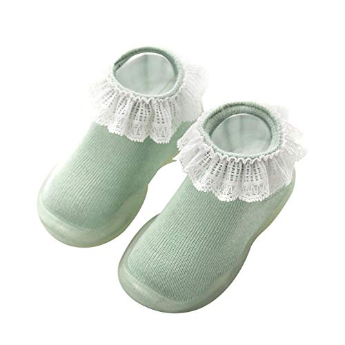 KTENME - Chaussettes de Sol en Dentelle antidérapantes pour Enfant de 0 à 4 Ans - pour garçons et Filles - Semelle en Caoutchouc - en Coton, Coton, Green-b, 12/13cm
