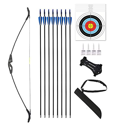 Monleap 51  Archery Recurve Bow and Arrows Set Youth Longbow Outdoor Hunting Gift Toy Beginner Bow Kit for Teens Kids Right Left Handed 18 lb(Black)