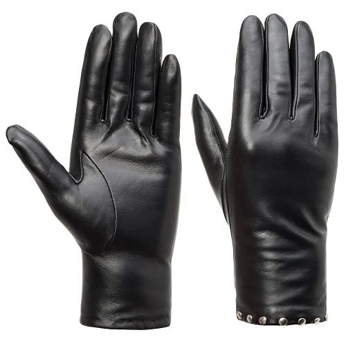 Acdyion Damen Echtleder Kaschmirfutter Handschuhe mit Nieten Touchscreen Kaschmirfutter Lederhandschuhe Winter warme Fahren Handschuhe mit Nieten als Deko (M)