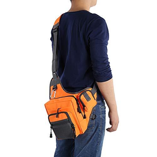 Yolispa Wanderreise Umhängetasche Angeln Tackle Bag Multifunktional für Outdoor-Sportarten (Orange)