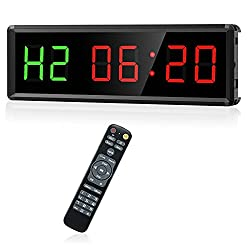 Seesii Gym Timer LED Interval Timer, 11x 3.6 Ultra-Clear with Remote Count Down/Up Wall Clock Stopwatch, Work with Power Bank for Outdoor Workout and Home Gym Garage Fitness, EMOM, Tabata (Green)