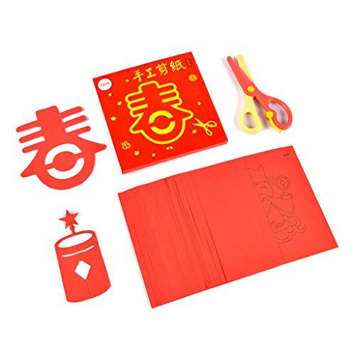 Marginf 40 patrones auspiciosos para corte de papel tradicional chino hecho a mano