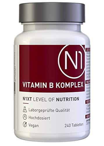N1 VITAMIN B KOMPLEX hochdosiert mit Vitamin B 12 vegan - 240 Tabletten - alle 8 B Vitamine in einer Tablette - Premium Apotheken-Produkt - beste Bioverfügbarkeit - Optimal kombiniert und dosiert