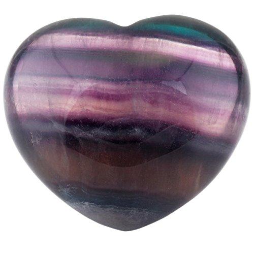 Rockcloud Healing Crystal Fluorite Heart Love Carved Palm Worry Stone Chakra Reiki Balancing