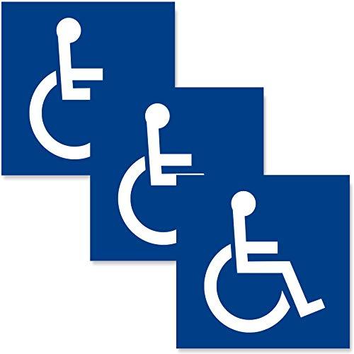 3 x Behinderten Aufkleber für Dein Auto - 10x10cm Rollstuhl - Hochglanzlack Rollstuhlfahrer Autoaufkleber - UV-Schutz - Innen und Außen - Geschlitzte Rückseite - Außenklebend