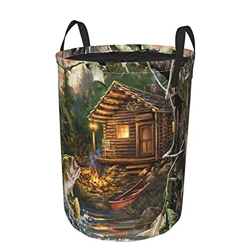 Cesto de lavandería redondo,caseta de pescado,cesto de lavandería plegable impermeable con cordón,19'X14'